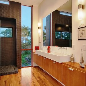Modern Bathroom With Double White Hung Sink Decor