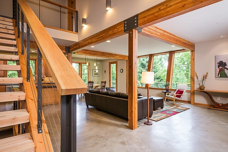 Modern Cottage Interior With Wood Beam And Breezy Interior Design