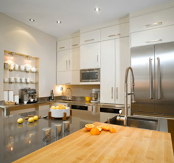 Modern Kitchen Decor With Labeled Canisters In A Stainless Steel Kitchen And Fridge