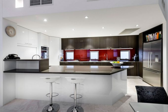 Modern Kitchen Decor With Cool Kitchen Island And Brown Kitchen Cabinet