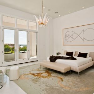 Modern Soft Color Master Bedroom With Large Window Design With Molding Frame Casing Window