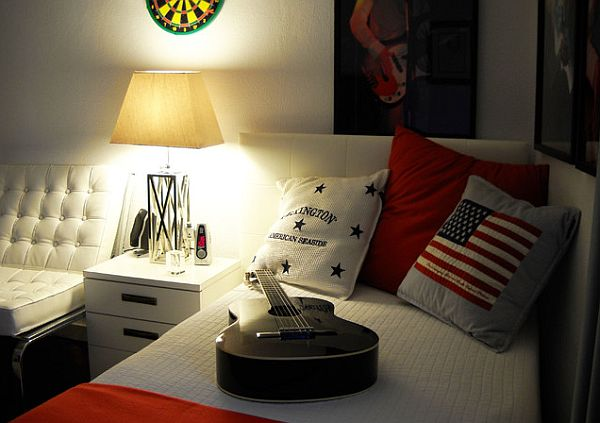Musician Bedroom Theme For Teenage Boy Room Idea With White Bed And American Flag Pillow And Guitarist Posters