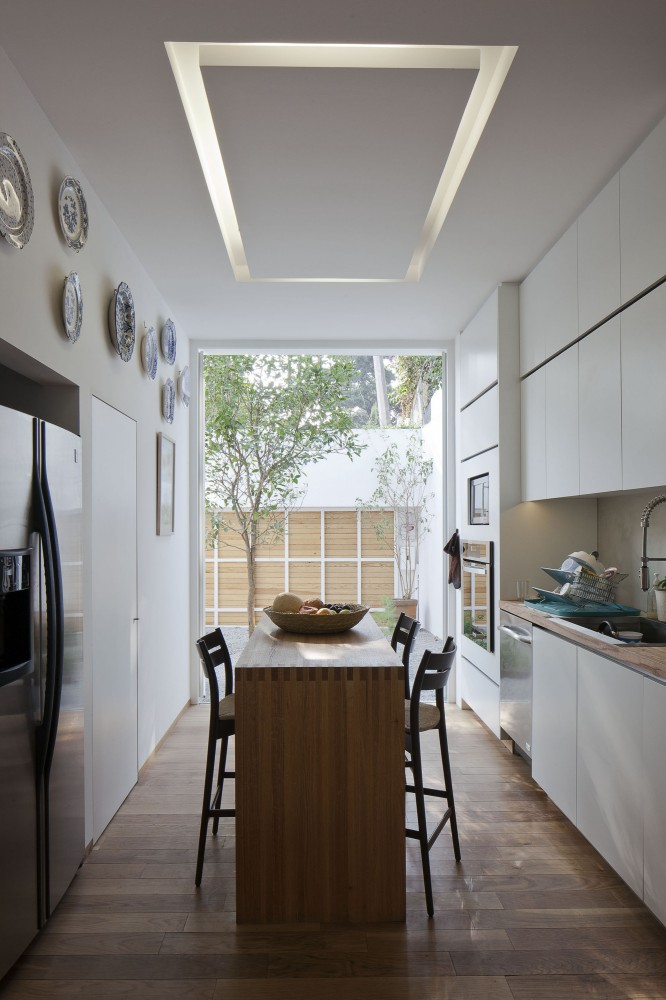 Architecture Narrow White Kitchen Design With Small Eating Table