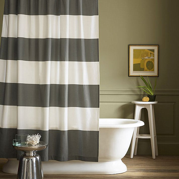 Nautical Curtain Design With Gray And White Striped Shower Curtain