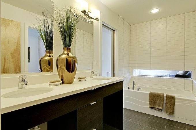 Neat Bathroom Design With Wonderful Arrangement Of Powder Room And White Bathtub