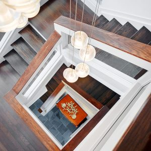 Oak Wooden Stair View From Above Modern Forest House Design