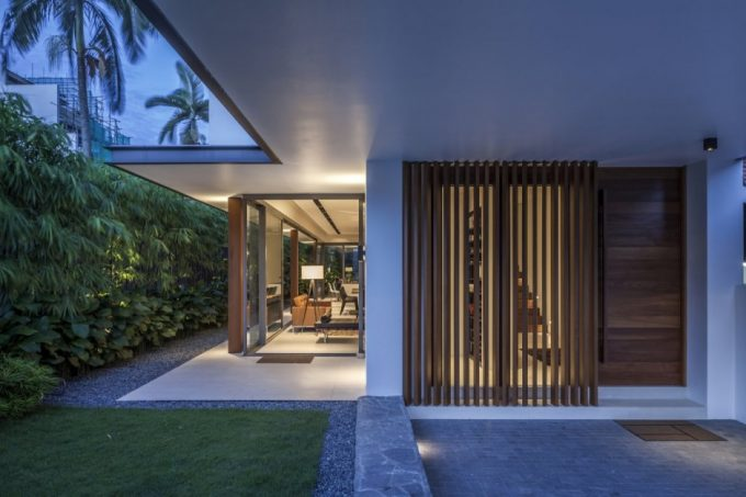 Open Space Living Room And Green Fence Design
