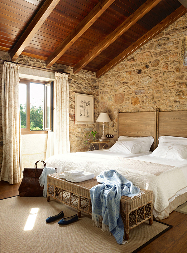 Outstanding Master Bedroom Rustic Details With Wooden High Ceiling White Bed And Rattan Bech