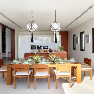 Outstanding Dining Room Design With Tropical Accent And Wooden Dining Furniture In East Coast Phuket