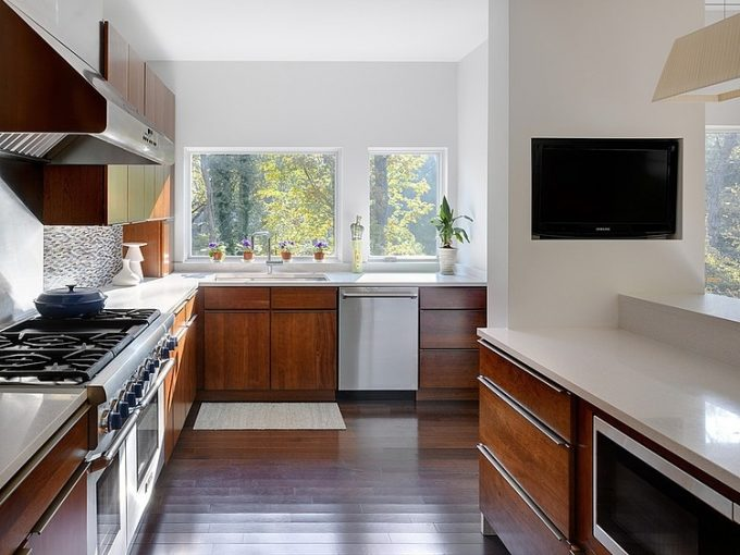 Outstanding Wooden Kitchen Cabinet Modern Minimalist House Design
