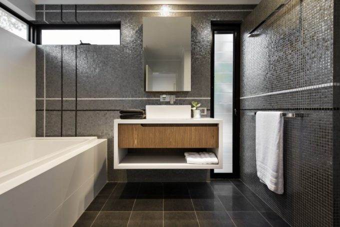 Pixeled Wall Bathroom With White Bathtub Modern Bathroom Design