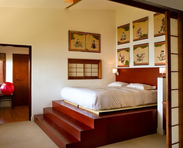 Platform Bed Steps In Japanese Bedroom Design Exotic Bed Design