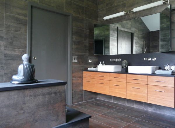 Relaxing Asian Bathroom Design With A Peaceful And Soothing Effect Also White Porcelain Sink Decor