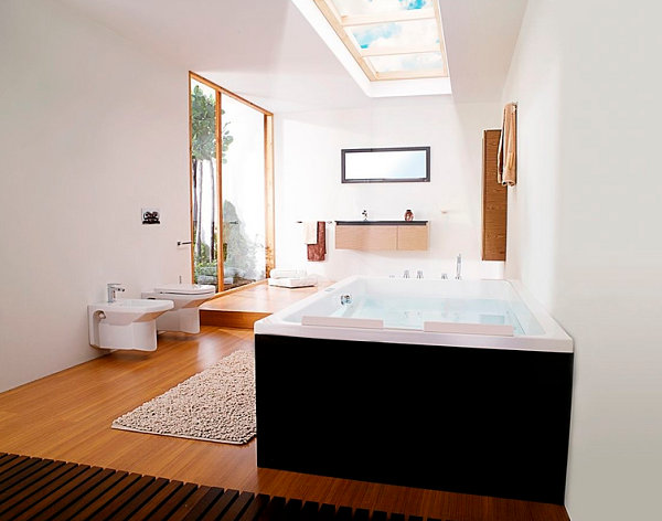 Relaxing Bathtub Design With Two Seater Rectangular Bathtub With Dual Head Rest