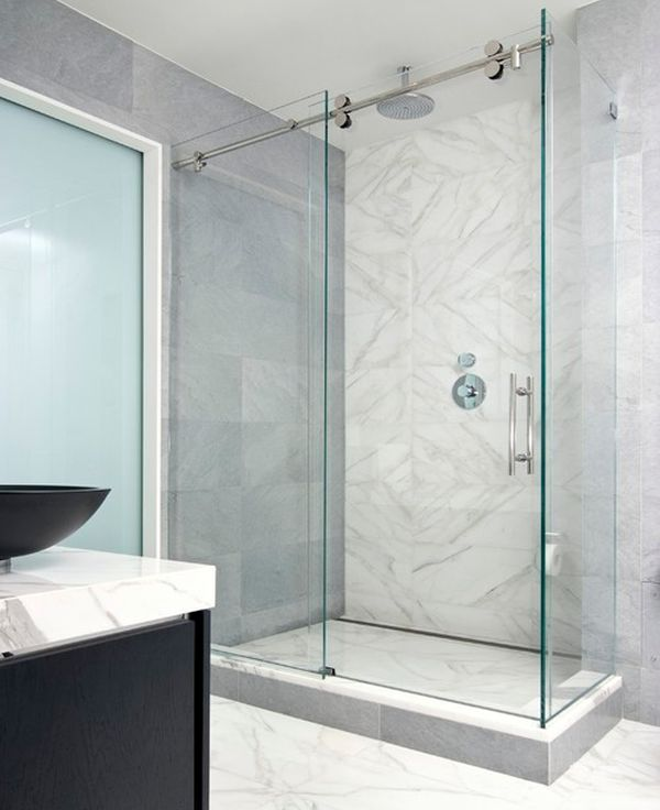 Relaxing Bright Bathroom Design With Minimalsit Shower Enclosure Encased In Glass