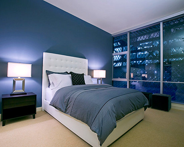 Remarkable Midnight Blue Modern Bedroom With Beidge Carpet And Floor To Ceiling Glass Windows