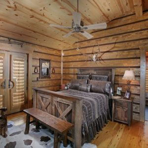 Rustic Bedroom With Rustic Wooden Bench And Old Wooden Bed Rustic Furniture Decor Ideas