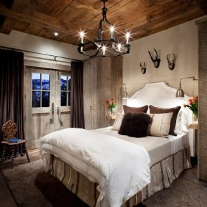 Rustic Feminine Touches With Traditional Pale Wooden Door And Old Wooden Cabinet Decor