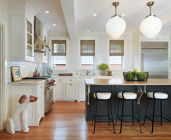 Rustic Kitchen Design With Embellishments Decor Tile Backsplash Counters And Bright Light From Warm Pendant Lamp