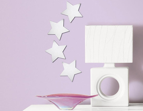 Simple Peel And Stick Silver Stars Wall Decor Ideas