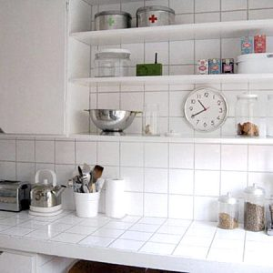 Simple And Inexpensive White Ceramic Tile Countertop Decorating