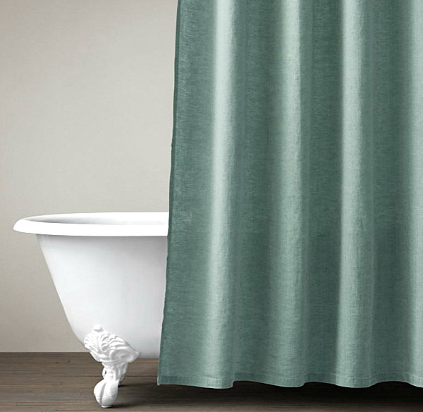 Simple Bathroom Curtain With Belgian Linen Shower Curtain