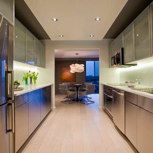 Sleek Metallic Cabinets In A Modern Kitchen Steel Kabinet Designing