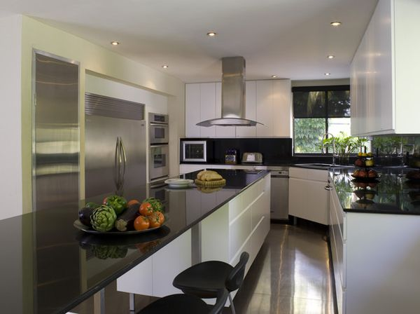 Sleek Modern Kitchen With Polished Surfaces And A Smart Corner Sink Unit Modern Cornering Kitchen