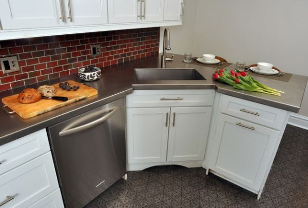 Small Kitchen With Steel Dishwasher Right Next To The Corner Sink Can Be Hard To Work With At Times