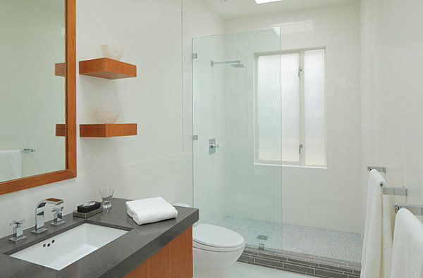 Smart Modern Ledge Shelving In A Small Bathroom Ideas