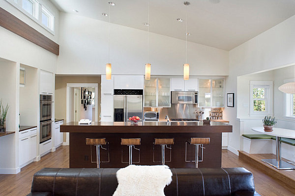 Spacious Contemporary Kitchen With Clear Counters From Wood Material