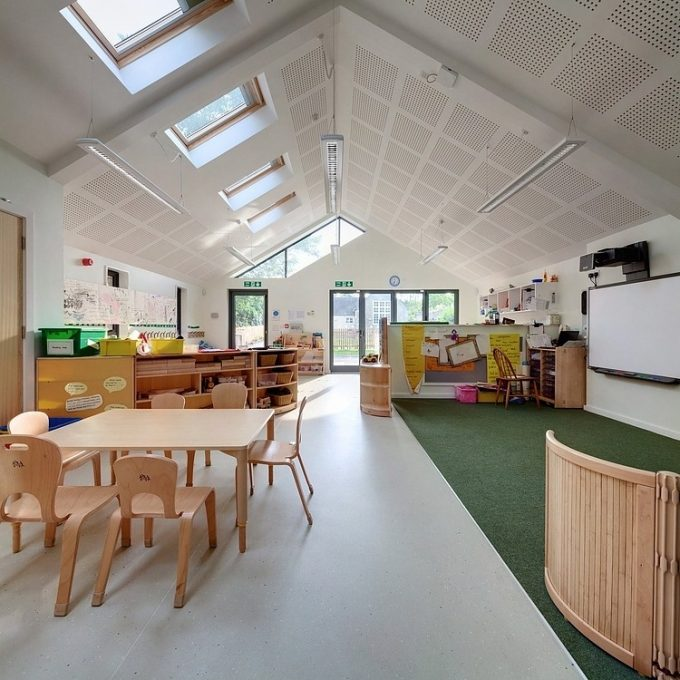 Spacy Indoor Learning Space With Beige Furniture And Green Carpet