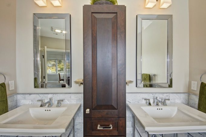 Stainless Steel Framed Mirror And Beautiful Sink And Modern Faucet Powder Room Remodeling Ideas