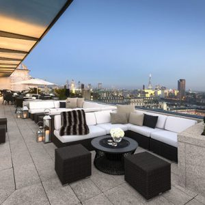 Stunning Roof Terrace Design Comfort Outdoow White Sofa And Amazing London View