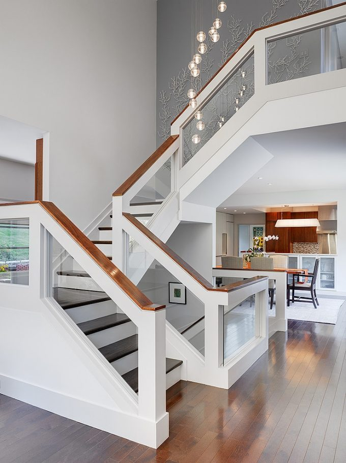 Stylish Staircase With White And Glass Banister Modern Interiors