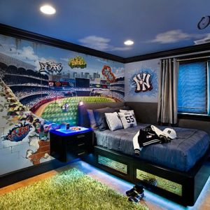 Stylish Teenage Boys Room Idea For A Yankee Fan With Basebal Stadium Wall Mural Bed With Drawer Below Bed And Led Lighting