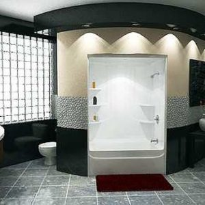 Traditional Bathroom With Black And White Theme Also Red Accents