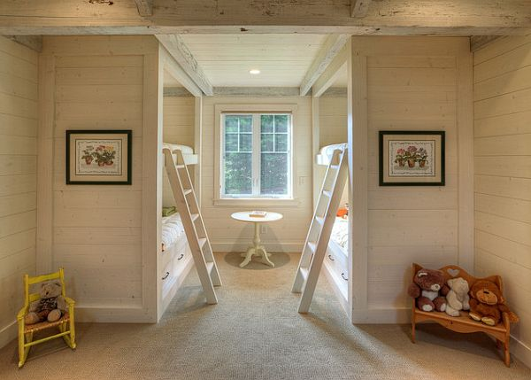 Traditional Kids Bedroom With Bunk Beds Rustic White Wooden Bunkbed Design