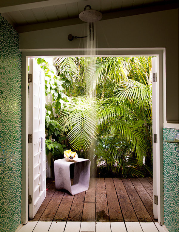 Tropical Bathroom With A Tropical Garden View With Green Wall Design