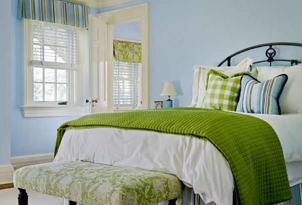 Vintage Bedroom Decor With Bedroom In Green Sports A Bench With Fabric Similar To One Use For A Roman Shade In The Room By Crisp Architects