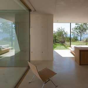 Warm Bedroom View With Opens Ace Room Design And Sea Scenery