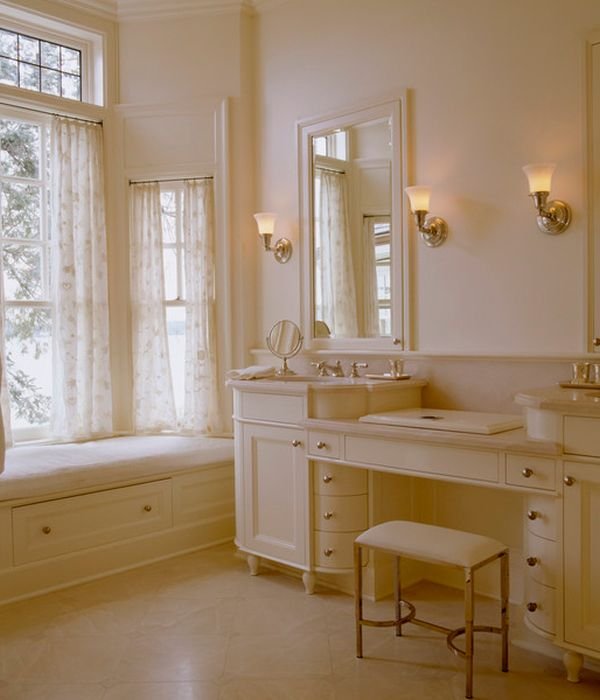 Warm Lighting The Richness Of This Cream Colored Bathroom Vanity
