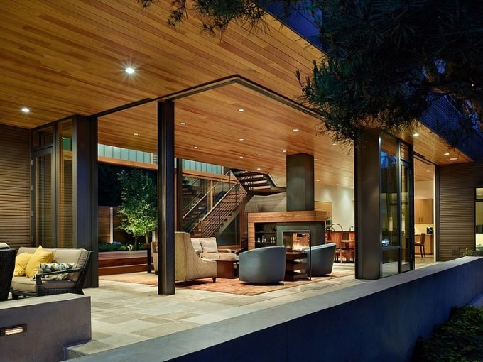 Warm Living Room With Wooden Cladding Ceiling And Open Space Style