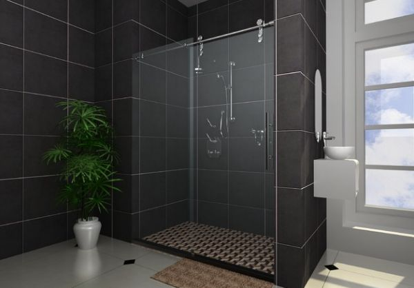 Warm Shower Enclosure Design For Those Who Prefer The Darer Hues With Black Wall Decor Bathroom