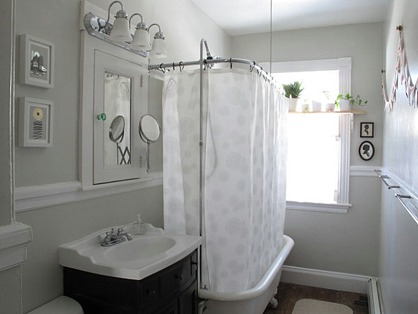 White Bathroom Decoration With Ledge Of Plants In A Compact Bathroom