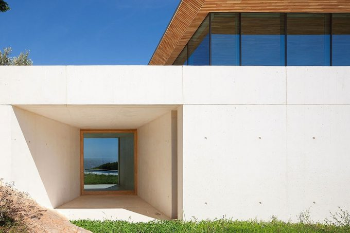 White Concrete Exterior Top Modern Retreat House On Hill Top