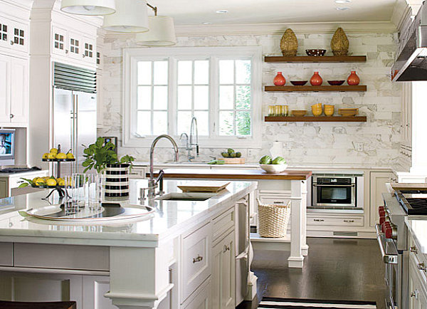 Simple Kitchen Decorating Tips for Attractive Look: Wonderful Bright Kitchen  With Decorative Wall Shelving Minimalistic