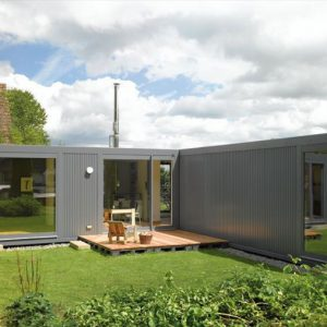 Wonderful L Shape Green House Design From Recycled Container Structure