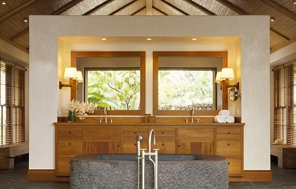 Wonderful Wooden Accents In A Tropical Bathroom How To Create Tropical Bathroom Tips