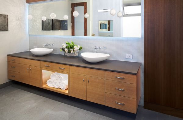 Wonderful Back Lit Mirror Atop A Gorgeous Porcelain Floating Sink In Wood